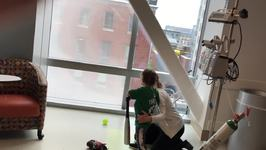 Little Boy Shows His Baseball Skills From His Hospital Room