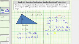 Quadratic App - Find Height And Base Of A Triangle Given The Area - Factor