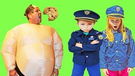 Grandma's Cookies Kid Cops Featuring Officer Ryan And The Assistant Cop With Hungry Sumo