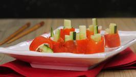 Smoked Salmon And Cucumber Sushi