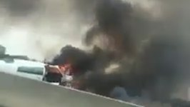 Airplane Crashes, Bursts Into Flames on Interstate 405
