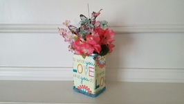 DIY DOLLAR TREE CRAFT  UPCYCLED GLASS VASE  DECOUPAGE NAPKINS
