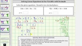 Solving an Equation In One Variable With Fractions - Keep Fractions 2