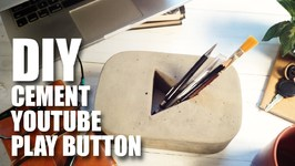 DIY Cement YouTube Play Button - Pen Holder