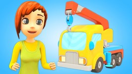 Car School- Learn Construction Vehicles for Kids - A Crane Truck Cartoon for Toddlers