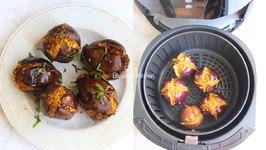 Air Fryer Stuffed Baby Eggplants - Ringan Ravaiya Or Bharela Baingan