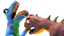 Indominus Rex Fights T-Rex For Baby Dinosaur Eggs (Play Doh Stop Motion)