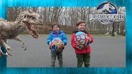 Jurassic World with Ryan World Surprise Egg Hunt! Dinosaur Mystery Egg - Chase and Cole Adventures