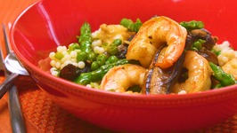 Shrimp, Mushrooms, and Asparagus Stir-Fry with Couscous