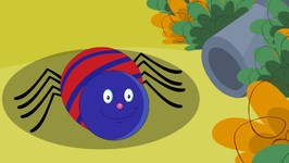 Incy Wincy Spider - Nursery Rhyme - Red and Blue Spider