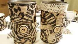 ANIMAL PRINT BURLAP CAN  CRAFT SUPPLIES STORAGE IDEA