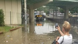 Bus Stuck on Flooded Istanbul Street in Aftermath of Torrential Rain