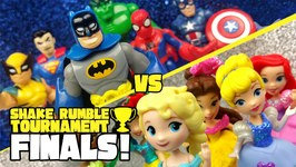 Superheroes Avengers And Justice League Vs Disney Princesses Toys Shake Rumble Finals 7
