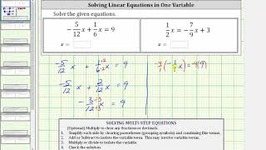 Solving An Equation In One Variable With Fractions - Keep Fractions 1