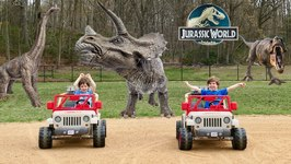 Giant T-Rex Adventure! Dinosaurs Power Wheels Races in Jurassic World with Chase and Cole Adventures
