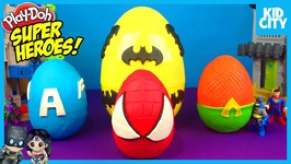 Batman Toys Play-Doh Surprise Eggs With Spiderman Captain America And Justice League
