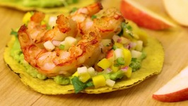 Grilled Shrimp Tostadas with Pinata Apple and Mango Salsa