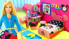 DIY Miniature Minnie Mouse Dollhouse Bedroom for Barbie -  Make a Miniature Room - Accessories