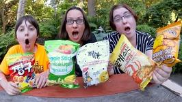 Korean Snacks Taste Test Part 2 / Gay Family Mukbang - Eating Show
