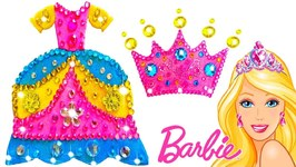 Play Doh Making Colorful Sparkle Disney Princess Barbie Dress High Heels Crown Toys For Kids