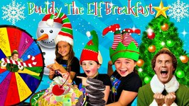 Buddy The Elf Breakfast Challenge!  MYSTERY Wheel of Sweets!