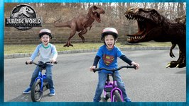 Giant Dinosaurs & Life Size T-Rex! Family Fun Bike Race at Dinosaur Park - Chase and Cole Adventures