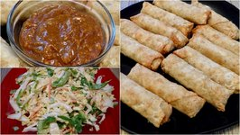 Egg Rolls With Peanut Sauce And Napa Cabbage Salad -Gay Family Mukbang - Eating Show