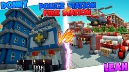 Minecraft POLICE STATION HOUSE VS FIRE STATION HOUSE!!