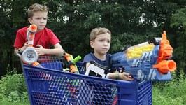Nerf War - Fortnite Shopping Cart Battles