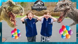 Dinosaur Giant Surprise Party! Birthday Toy Hunt in Jurassic World with Chase and Cole Adventures