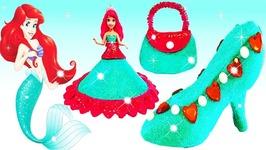 Play Doh Sparkle Disney Princess Dresses Shoe High Heel Ariel Frozen Elsa Clay Modeling For Children