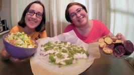Pesto Fish Baked Potatoes And Salad / Gay Family Mukbang - Eating Show