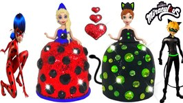 Miraculous Ladybug Play Doh Sparkle Dress For Frozen Elsa And Anna Modeling Clay For Kids