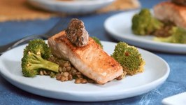 Sauteed Black Garlic Butter Verlasso Salmon - Lentils And Steamed Broccoli