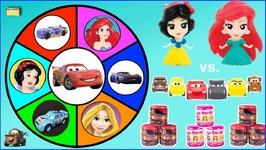 DISNEY CARS 3 vs DISNEY PRINCESS Wheel Game - Mashems vs Fashems Which are Better