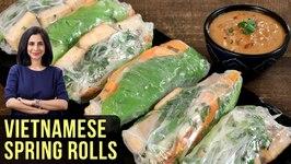 Vietnamese Spring Rolls Recipe - How To Make Spring Rolls - Goi Coun - Peanut Sauce Recipe - Tarika