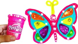 Play Doh Making Colorful Butterfly Rainbow Sparkle Super Glitter Modeling Clay Kids Learning Colors