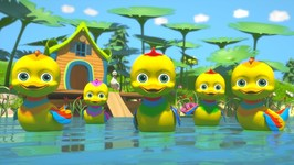 Five Little Ducks - Childrens Kindergarten Nursery Rhyme Song - Cartoon for Kids