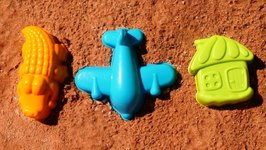 Playing with Fun Kids Toys in the Sandbox- Learn Colors with Sand Toys - Playing with Sand and Toys