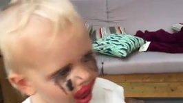 Little Girl Tries on Mom's Makeup Without Permission