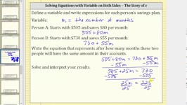 Write Linear Expressions and an Equation Application: Savings Plans