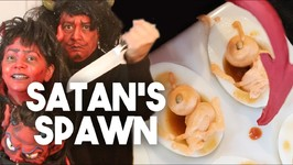 Satan's Spawn - Creepy Halloween Deviled Eggs - Kravings