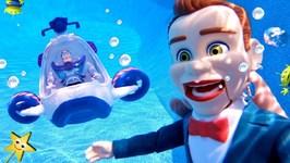 Toy Story 4 Toys BENSON'S POOL PARTY JAIL w/ Buzz Lightyear Submarine!