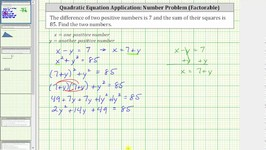 Quadratic App - Find Two Numbers Given Difference And Sum Of Squares - Factor