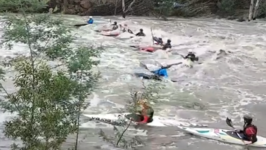 Kayakers Brave Rushing Waves Following Record Rainfall in Melbourne
