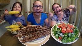Grilled Chicken Hearts, Corn And Salad -Gay Family Mukbang- Eating Show