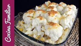 Coliflor gratinada con garbanzos y bacalao - Recetas para dieta