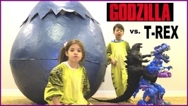 Giant Size GODZILLA vs Ultra T-Rex DINOSAUR in Giant Hatching Surprise Egg Kids   Toys