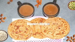 Badam Bhakhri Or Bhakri With Masala Chai / Almond Flat Bread