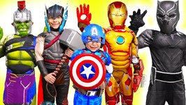 Black Panther Marvel Avengers Kids Costume Runway Show with Iron Man Hulk Thor Movie Spiderman Toys